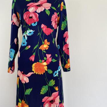 1970's Vintage HOSTESS DRESS, floral maxi dress long sleeve hostess dres, neon floral print maxi dress, spring dress, mod hippie boho by ShopRVF