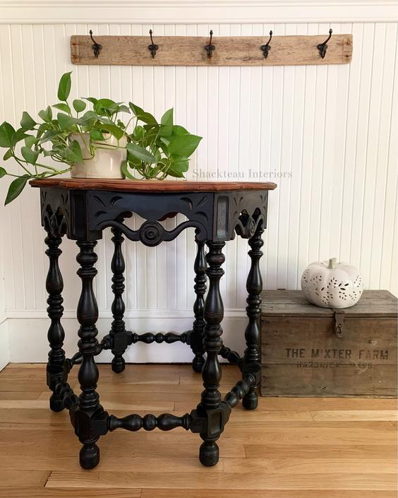 Antique Black Hall Table