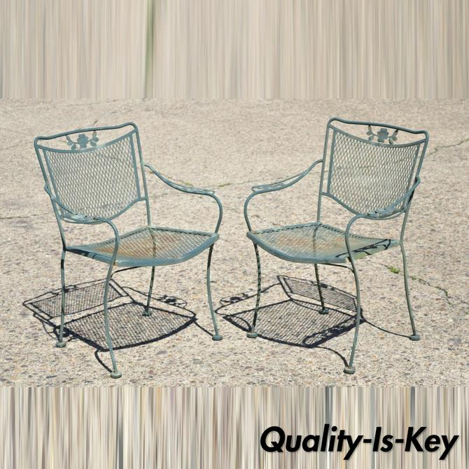 Meadowcraft Dogwood Flower Filigree Green Wrought Iron Dining Arm Chairs - Pair