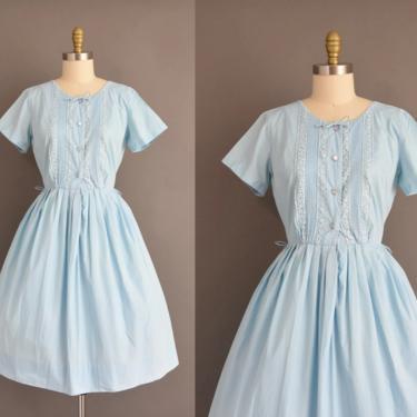 vintage 1950s dress   Adorable Periwinkle Short Sleeve Full Skirt Summer Cotton Shirt Dress   Large   50s vintage dress by simplicityisbliss