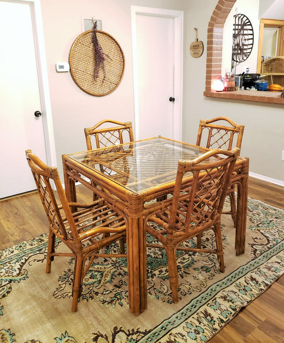 FREE SHIPPING! Vintage Rattan Dining Table Set, Glass Top, Four Chairs | Boho Bamboo Ritts Tropitan MCM Mid-Century Hollywood Regency by SavageCactusCo