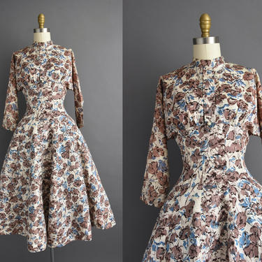 1950s vintage dress | Beautiful Abstract Floral Print Sweeping Full Skirt Cocktail Party Dress | Small | 50s dress by simplicityisbliss