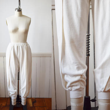Vintage 1980s Fancy Sweatpants by Esprit Sport | Cream Colored Cotton Sweats with Fitted Ankles | Pockets | Harem-Style | S/M by wemcgee