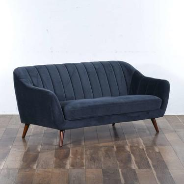 Mid Century Modern Style Channel Back Sofa