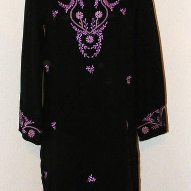 Black with Purple Floral Embroidery Sheer dress by AllMyItems