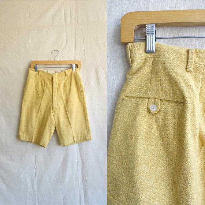 Vintage 70s Yellow Walking Shorts/ 1960s Mens High Waisted Tweed Cotton Slim Cut/ Size 28 by bottleofbread