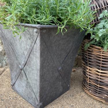 Square Metal Planter w/ Zinc-Style Finish, multiple sizes