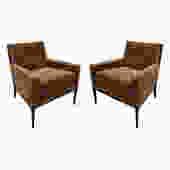T.H. Robsjohn-Gibbings Elegant Pair of Club Chairs 1950s
