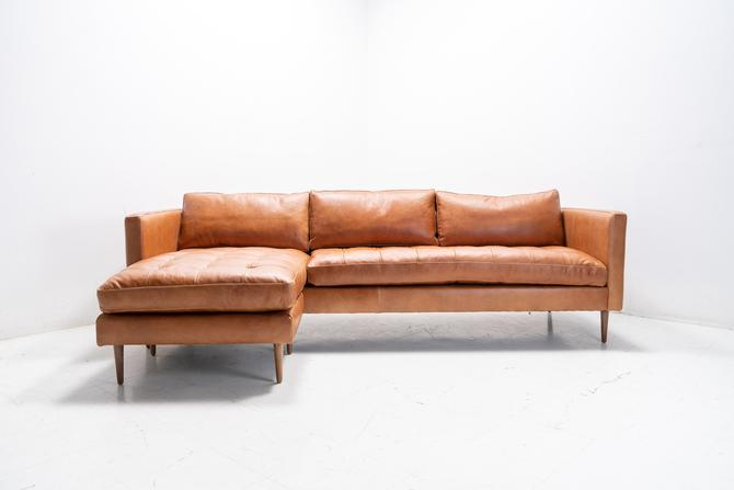 Mid Century Modern Danish Sofa Sectional Chaise, reversible to both sides by TDFurniture