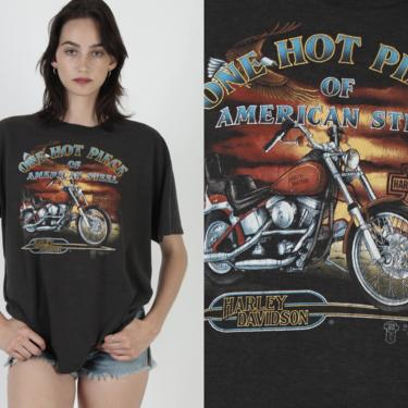 One Hot Piece Of American Steel T Shirt / Vintage 80s 3d Emblem Harley Davidson Tee / Eagle 2 Sided Florida Motorcycle Dealer Tee by americanarchive