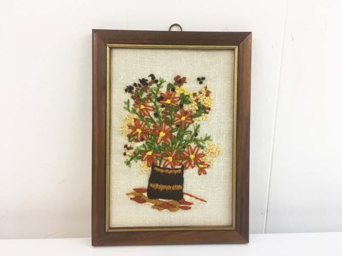 Vintage Floral Crewel Framed 1970s Kitsch Retro Decor Wall Hanging Kitschy Nursery Kids Room Yellow Flowers Flower Handmade Baby Shower by CheckEngineVintage