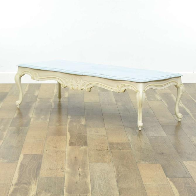 White French Provincial Coffee Table W Powder Blue Top