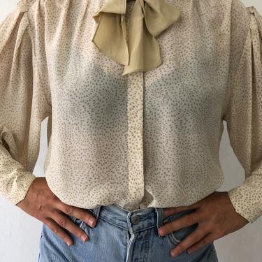 Vintage British Crown Colony Beige Bow Tie Puff Sleeve Silk Blouse by VintageRosemond