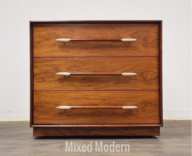 Robsjohn Gibbings for Widdicomb Walnut Speartip Dresser by mixedmodern1