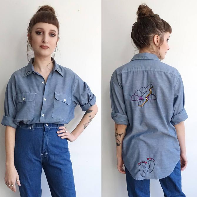 Vintage 70s Embroidered Big Mac Chambray Shirt/ American Folk Art/ 1970s Hand Embroidered Denim Work Shirt/ XL by bottleofbread