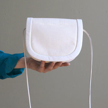 small white leather bag / 80s bag by EELT