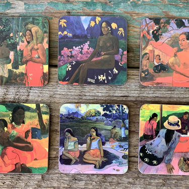 Gauguin Coasters | Set of 6 Vintage Art Coasters | Tahiti Vintage Art | Nude Art Coasters | Cork Coasters | Gauguin Art Gift | Bar Gift by PiccadillyPrairie