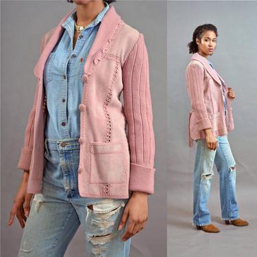 vintage 70s pink suede jacket belted patchwork sweater coat 1970's leather hippie jkt blazer overcoat 1970s rare ooak artisan shawl collar by levintagecult