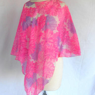 1970s Sheer Blouse Poncho Tunic Pink Purple Flowers Flowing Design by kissmyattvintage