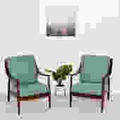 Blue Danish vintage lounge chairs restored