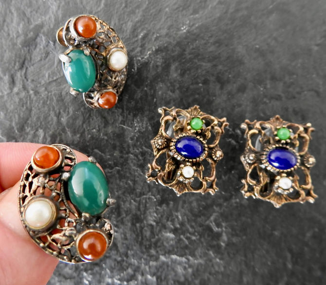 2 Pair Renaissance Revival Brass and Glass Earrings by LegendaryBeast
