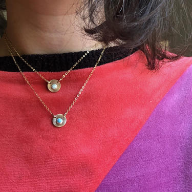 Stoned Disc Necklace in 14k Gold Fill with Turquoise or Opal Handmade Small Circle Choker Pendant by RachelPfefferDesigns