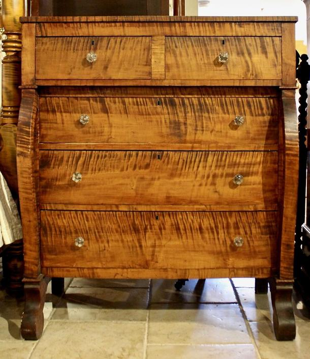 19th Century American, Empire Chest in Tiger Maple, Scroll Feet and Period Glass Knobs. Original Finish