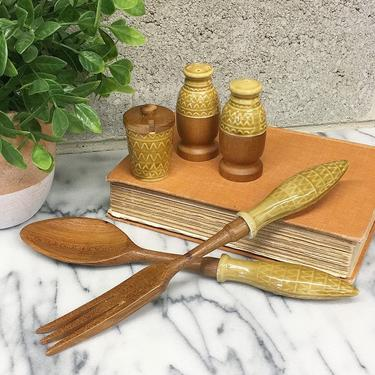 Vintage Salad Serving Set Set Retro 1960s Mid Century Modern + Yellow Ceramic + Wood + Fork and Spoon + Salt and Pepper Shakers + Kitchen by RetrospectVintage215