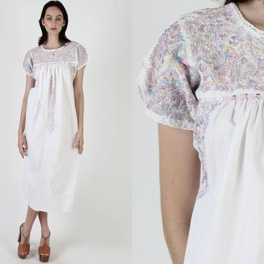 White Womens Oaxacan Maxi Dress / Vintage 70s Cotton Mexican Pastel Floral Dress / Hand Embroidered Long Made In Mexico Quinceanera Dress by americanarchive