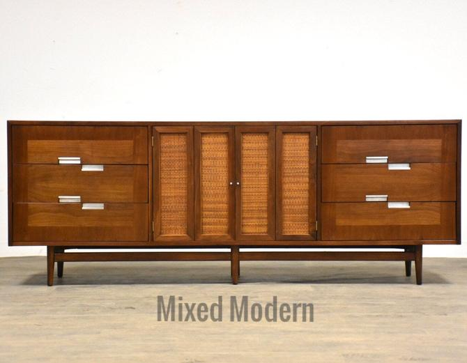 American of Martinsville Walnut and Aluminum Dresser Credenza by mixedmodern1