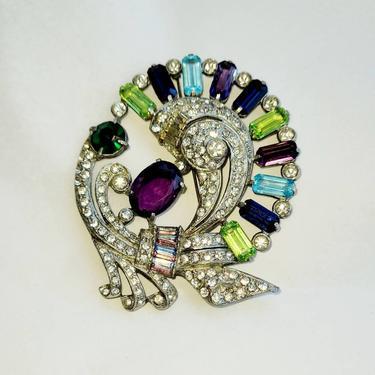 Vintage large brooch colorful peacock design by LazyDogAntiqueStore