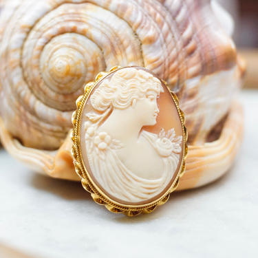 Vintage 10K Yellow Gold Cameo Brooch, Beautiful Antique Cameo Pin, Gold Brooch With Class Relief Carving Of Lady's Bust, Large Cameo by shopGoodsVintage
