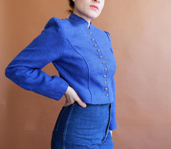 Vintage Cropped Puff Sleeve Jacket/ Traditional Bavarian Trachten Jacket/ Blue Coat/ Size Medium by bottleofbread