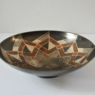 Mid-Century Metal Bowl with Geometric Design by Rosenthal Netter by SourcedModern