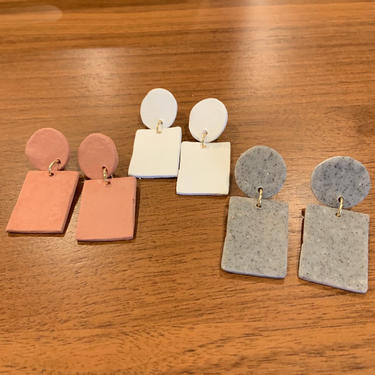 Elizabeth: terracotta, granite or white clay earrings, post or clip-on. earthy, burnt orange, big, boho, southwestern, rectangle circle by AllisonStreetNW