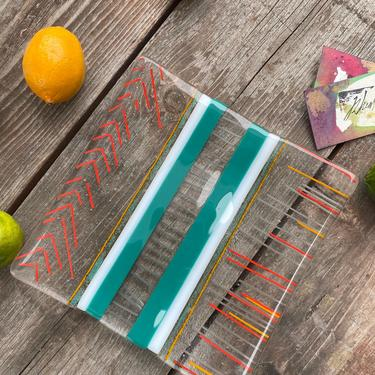 Multi Striped Square Glass Catchall Display Serving Plate One of a Kind by MadeByRheal