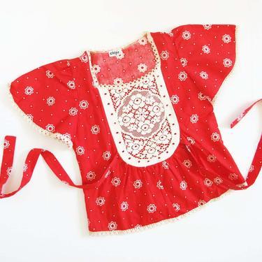 Vintage 60s Bandana Print Blouse S - 1960s Square Dance Blouse - Red Bandana Print Shirt - Peplum Blouse - 60s Lace Flutter Sleeve Shirt by MILKTEETHS