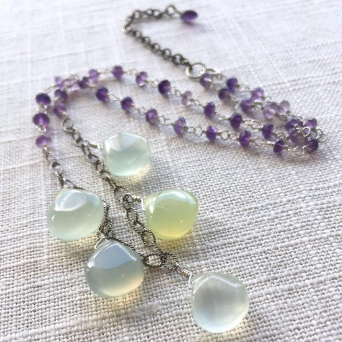 An Inheritance of Wishes [necklace: chalcedony, amethyst, sterling silver] by nonasuch