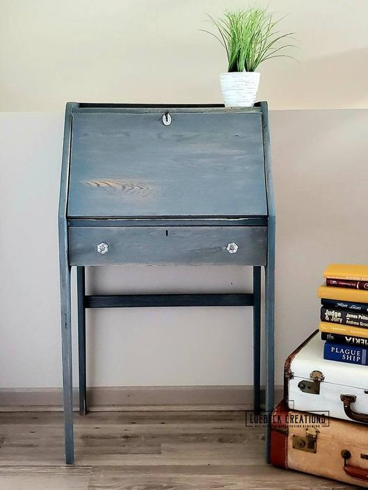 Refinished vintage secretary drop down desk by LuebeckCreations