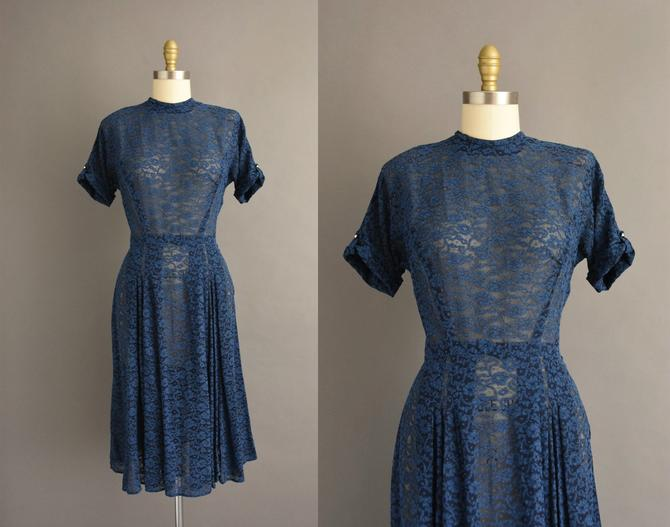 1950s vintage dress   Beautiful Navy Blue Semi Sheer Short Sleeve Dress   Large   50s dress by simplicityisbliss