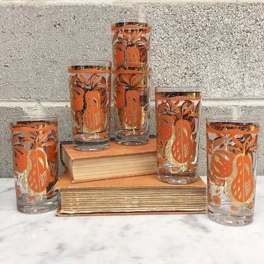 Vintage Drinking Glasses Retro 1960s Georges Briard + 22 Karat Gold + Coral Fruit + Highball Glasses + Set of 6 Matching + Kitchen Decor by RetrospectVintage215