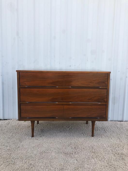 Mid Century Six Drawer Dresser with Walnut Finish