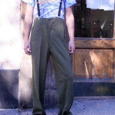 Military Trousers w Suspenders | M1951 Army Pants | Camo Green | Medium | 50s Pants | Vintage Military | Old School Wool Pants | by HamletsVintage