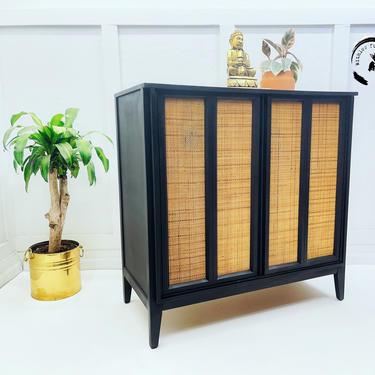 Mid Century Modern Tallboy /boho chest of drawers/ Hollywood Regency Highboy/black cane dresser by withlovefurniture10