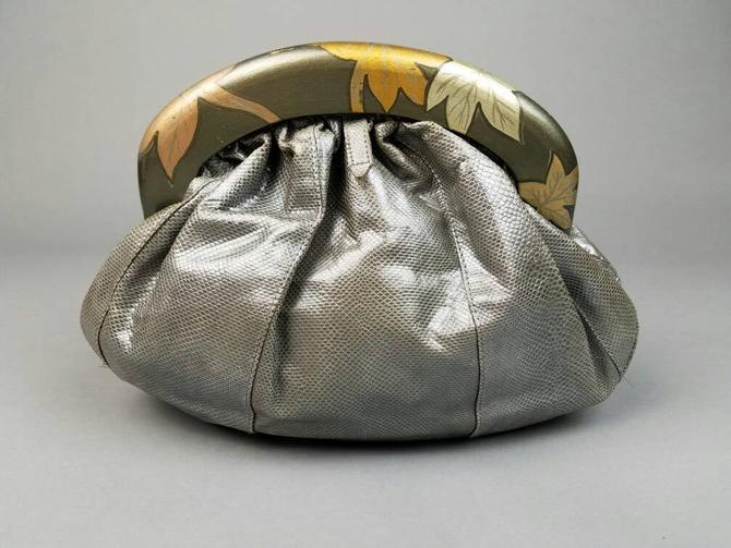 70s Snakeskin Clutch Handbag Wood Handle, Vintage Reptile Leather Evening Bag, Designer Clutch Zushi, Retro Gifts for Her, Unique Purse by SlimeWarpVintage