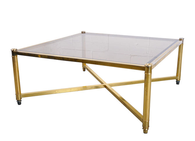Vintage American Hollywood Regency Plated Brass and Glass Coffee Table by StandOutSpaces