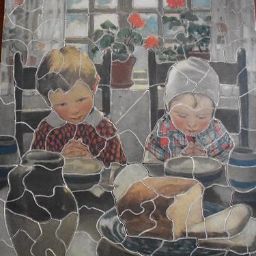 """RARE! Gorgeous 1930s Jig - Saw Picture Puzzle - Children Saying Grace - 10x11.5"""" Puzzle -  123 Pieces - PUZZLE LOVERS! 