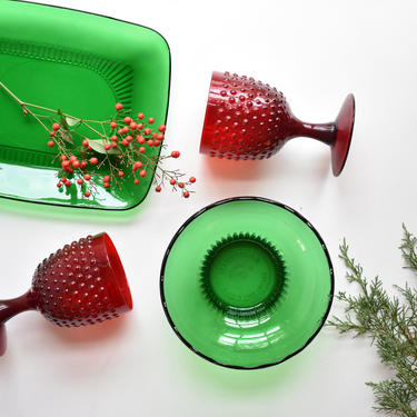 "Green Glass Candy Dish | Cranberry Sauce Bowl | Key bowl | Scalloped Edged Pedestal Candy Dish | E.O. Brody M2000 ""Cleveland O USA"" Low Bowl by LostandFoundHandwrks"