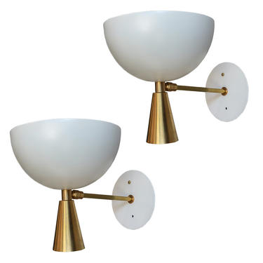 Pair of Custom Brass and White Metal Mid Century Style Sconces