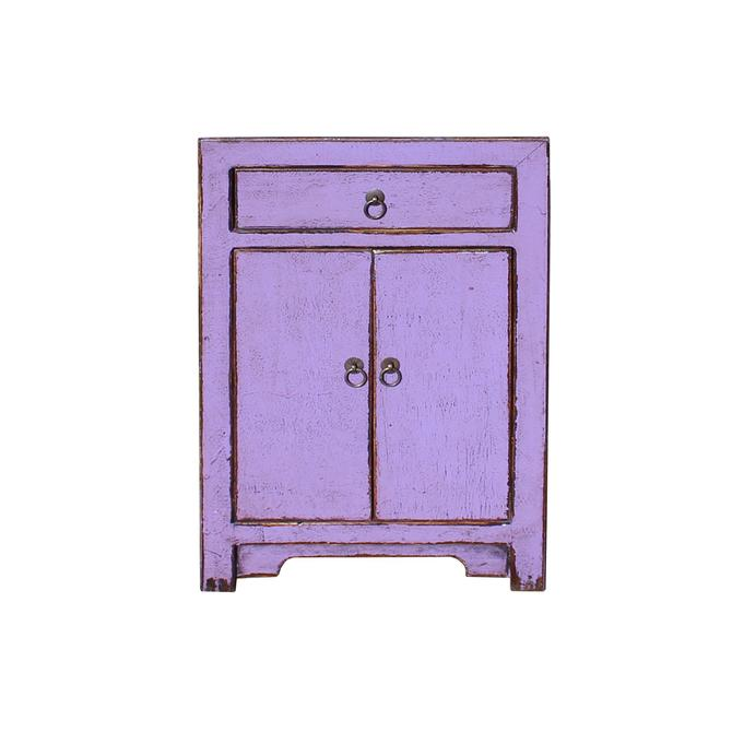 Distressed Grape Purple Lacquer Drawer End Table Nightstand cs5432S